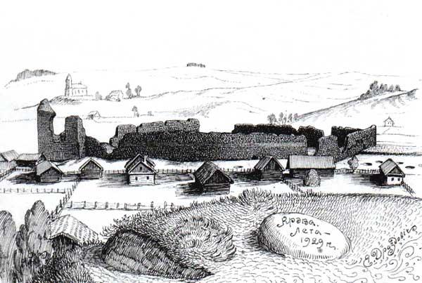 Крэўскі замак. Малюнак Язэпа Драздовіча.