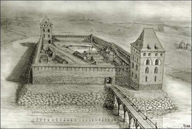 Крэўскі замак. 14 стагоддзе.